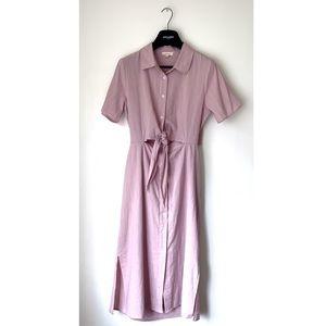 GILLI • STRIPED FLANNEL TIE KEYHOLE BUTTON DRESS